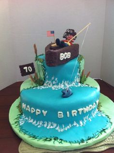 70th birthday cake for fisherman.  Chocolate with salted caramel buttercream.
