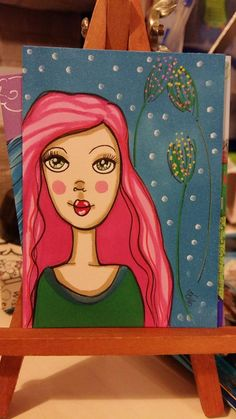 Artist Trading Card  #whimsical #bigeyed #cute #girl #pinkhair #promarkers #letraset #drawing #magical #atc #aceo #miniartcard