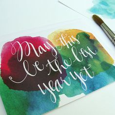 Single Watercolor Happy Birthday Greeting Card with Hand Typography, 'May This Be The Best Year Yet' Anniversary or New Year Card