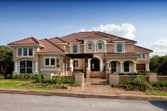 This Toll Brothers exterior illustrates an upated take on Mediterranean style