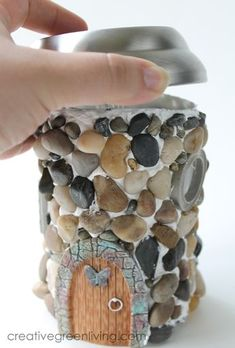 Make your own DIY fairy house using recycling bin finds and a solar powered garden light. It's the perfect fairy garden house for all your fae friends. This fairy house can take a few days to finish…MoreMore Fairy Crafts, Garden Crafts, Garden Projects, Garden Ideas, Solar Projects, Diy Projects, Fairy Garden Houses, Gnome Garden, House Gardens