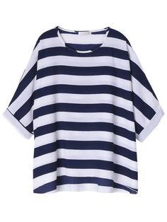 Women Batwing Sleeve Stripe Contrast Color Loose T-Shirt