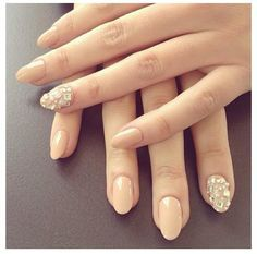 almond and gold short square nails - Google Search