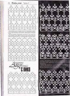 Knitting stitches tutorial fabrics new ideas Filet Crochet, Crochet Stitches Chart, Crochet Lace Edging, Crochet Motifs, Crochet Diagram, Knitting Stitches, Knitting Patterns, Crochet Patterns, Crochet Curtains