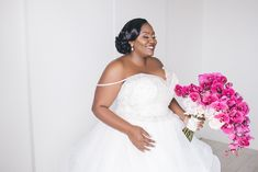 real wedding photo black wedding luxury at w hotel fort lauderdale planned by tica rose events bride in ball gown pink fuchsia orchid bouquet