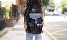 Large Dark Blue Suede Backpack by Beara Beara