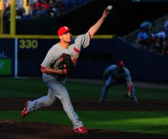 Tyler Lyons throws a 2nd inning pitch against the Atlanta Braves. Cards lost 2-1. 5-06-14