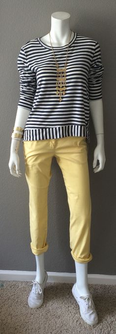 Daily Look: CAbi Spring '15 Coast Crop, Sunshine Yellow, with the Bengal Stripe Tee, Hammered Cuff & my favorite Stella & Dot necklace & Keds. This is currently my favorite, favorite outfit. #springfashion #cabiclothing