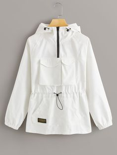 Buy Zip Half Pocket Front Drawstring Windbreaker Jacket in the online store - BigShopStyle Windbreaker Jacket, Hoodie Jacket, Rain Jacket, Fall Jackets, Jackets For Women, Clothes For Women, Knitted Coat, Double Breasted Jacket, Outfits