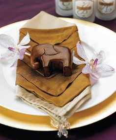 Perfect For The Asian Wedding Theme > Good Luck-Wooden Elephant Favor. www.ceceliasbestwishes.com