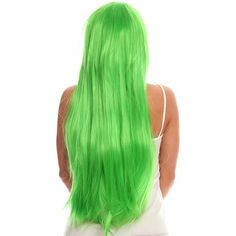 lime green long straight sleek costume hair wig ($40) ❤ liked on Polyvore featuring beauty products, haircare, hair styling tools, hair and blablabla