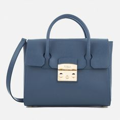 Furla Women's Metropolis Small Satchel Bag - Avio Scuro C (1.760 RON) ❤ liked on Polyvore featuring bags, handbags, blue satchel bag, blue satchel handbags, blue purse, blue bag and satchel hand bags