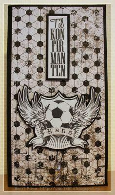 Fotballkort til en konfirmant -  Stempler fra North Star Stamps på utsiden.