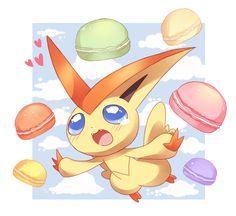 Pokemon-Victini by m-miron Black Pokemon, All Pokemon, Pokemon Fan, Pokemon Stuff, Cute Pikachu, Cute Pokemon, Pikachu Mignon, Photo Pokémon, Pokemon Super