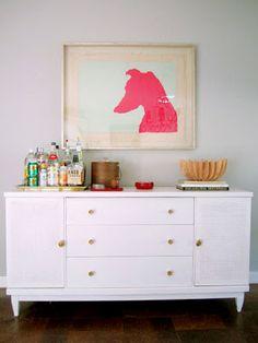 Love this bar setup... especially the dog art  |  Bar Cart Essentials
