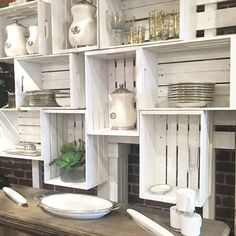 Diy kitchen cabinet upcycle upcycling wood crates for kitchen shelving storage organize diy Kitchen Wall Storage, Kitchen Shelves, Diy Kitchen, Kitchen Decor, Kitchen Organization, Diy Cupboards, Kitchen Worktop, Kitchen Storage Furniture, Recycled Kitchen