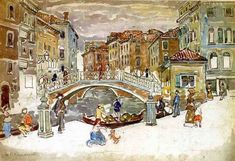 Fine Art Watercolor Print of Venice named The Little Bridge by Prendergast 1911. Isnt this charming? So sweet. I love it. 5 x 7 print unmatted