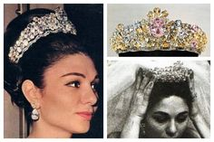 The Noor-ol-Ain Tiara One of the largest pink diamonds in the world, the sixty-carat Noor-ol-Ain, adorned the wedding tiara of Farah Diba, the last empress of Iran, when she wed Shah Mohammed Reza Pahlavi.Found in an Indian diamond mine, it was brought to Iran by soldiers who had raided Delhi in the 1700s. But the tiara in which it is currently mounted is signficantly newer; packed with additional pink, yellow, and white diamonds, was made in 1958 by Harry Winston .