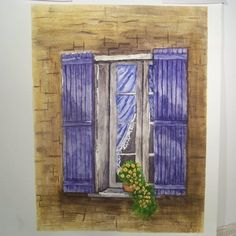 European Window A Watercolor Painting | Angelas_Adornments - Painting on ArtFire
