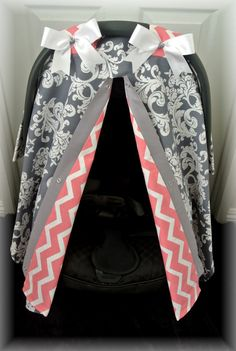 car seat canopy car seat cover gray grey bows by JaydenandOlivia, $37.99