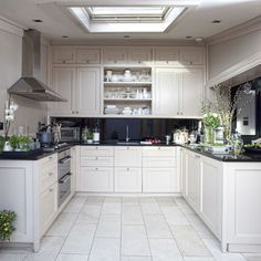 Swoon to the moon over this gorgeous kitchen. There's lots going on so I'd get rid of this clutter, leaving the basics - white floor, white cabinets, gorgeous deep gray walls.