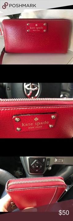 """Kate Spade Wallet Red leather wallet in excellent condition. Measures 3.9""""x 7.6"""". Has 3 compartments and and a zippered compartment in the middle. It has 12 slots to store credit cards. kate spade Bags Wallets"""