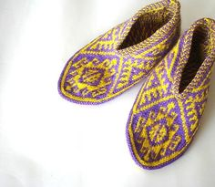 Purple & yellow Traditional Turkish Hand Knit by AnatoliaDreams