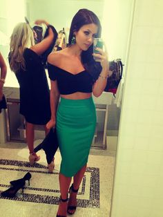 Girls night out outfit idea..i love crop tops with pencil skirts!