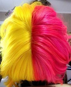 Pink and yellow half and half hair using z Good Dye Young hair color #pinkhair…