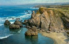 "Marine oil paintings: Clyde Aspevig - American. ""The Headlands"", 24 x 36 inches."