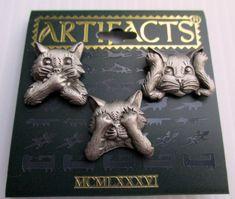 "Adorable ""See no evil, hear no evil, speak no evil"" 3 CAT scatter pins! NEW Signed jj jewelry $12.75"