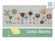 Celtic Stems Twelve floral designs with stems featuring a Celtic twist  This design would work well framed as part of a display of similar artworks.  This is a 15-page digital pattern in PDF format.  The pattern includes: Fabric, thread and bead requirements: The fabrics, threads and beads needed to stitch this design.  Transfer instructions: Various options for transferring the design on to fabric.  Illustrated embroidery instructions: The stitches, threads and beads to use are given, as…