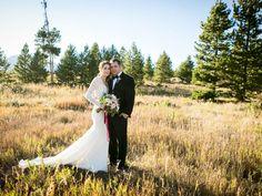 sunny mountain wedding day portrait