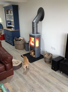 Kernow Fires Contura 850 between rooms wood burning stove installation in Cornwall. Art Deco Fireplace, Home Fireplace, Fireplace Design, Fireplace Ideas, Fireplaces, Cottage Design, House Design, Wood Burning Logs, Stove Installation