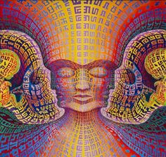 Alex Grey and his wife Allyson Grey are known for their psychedelic paintings that utilize patterns. Credit: Secret Writing Being by Alex Grey and Allyson Grey, 24 x 24 in. oil on linen. Alex Gray Art, Grey Art, Alex Grey Paintings, Art Paintings, Allyson Grey, Ohio, Arte Tribal, Visionary Art, Psychedelic Art