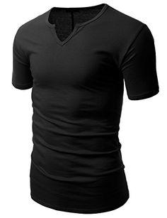 Doublju Mens Basic Soft Colorful Regualr Fit Plus Size Slub Notch T-shirt BLACK,XL
