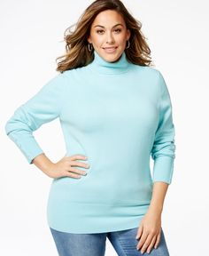 Jm Collection Plus Size Turtleneck Sweater, Only at Macy's