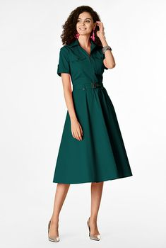 I this Button tab utility style cotton poplin shirtdress from eShakti Modest Dresses, Modest Outfits, Modest Fashion, Boho Fashion, Pretty Girl Rock, Classy Work Outfits, Dresses Online, Fashion Forward, Ready To Wear