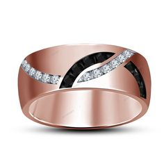 0.47 CT Round Cut Diamond 14K Rose Gold Finish Men's Wedding Ring Size 7 To 14 #aonedesigns #MensEngagementRing