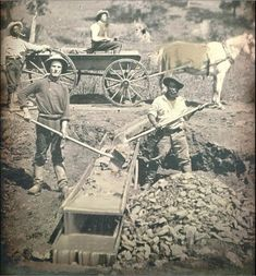 California Gold Rush miners searching for gold, 1852