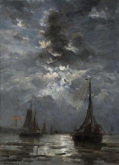 Fishing Boats by Moonlight  Hendrik Willem Mesdag
