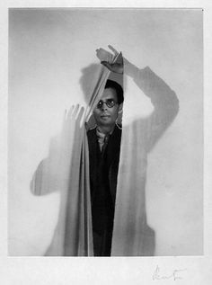 Aldous Huxley  by Cecil Beaton  vintage bromide print on white card mount, 1936  8 3/8 in. x 6 5/8 in