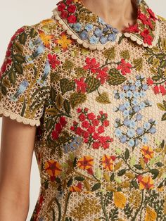 Embroidered floral-mesh ruffle hem dress | REDValentino | MATCHESFASHION.COM US