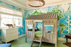 World Map Paper Wall Mural, Travel Nursery, Explorer Kids Room, Bright & Coloful Playroom
