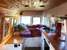 I love the wood interior of this custom diy skoolie bus conversion build. It has a great kitchen and bathroom layout with plenty of storage and organization space as well as a cool design. If you're looking to build an adventure camper, this is a great blog to read because it has tips tricks and advice for living on the road! #vanlife Bus Life, Camper Life, Camper Van, T3 Bus, Kombi Motorhome, Short Bus, Adventure Campers, Adventure Time, School Bus Conversion
