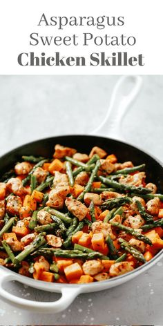 This Asparagus Sweet Potato Chicken Skillet recipe is a delicious, healthy, and easy-to-make meal that will be on your dinner table in less than 30 minutes. This is #glutenfree, #whole30, #paleo, and perfect for your busy weeknight dinner. #primaverakitchen #dinner #easydinner #healthydinner #onepanmeal #onepandinner #skilletrecipe #asparagus #sweet potato #chickenandsweetpotato
