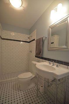 Traditional Bathroom with EliteTile Retro Glazed Porcelain Octagon Mosaic in Matte White & Glossy Black, flush light Bathroom Renos, Budget Bathroom, Bathrooms, Bathroom Makeovers, Bathroom Ideas, Gym Showers, Console Sink, Flush Lighting, Concrete Tiles