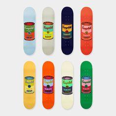 ウォーホル:スケートボードColored Campbell's Soup Cans  8色展開  各31,200円 (税抜)