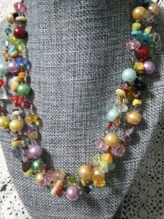 Three strands Glass Stone and Plastic multi colored beaded