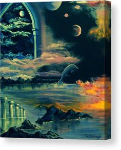 Canvas print, cosmos,fantasy,surreal,sky,sea,water,planets,dolphin,pillars,arch,window,immerging,dreamscape,rocks,sunk,atlantis,fantastic,space,universe,world,ruins,remains,flame,fire,gothic,night,nightscape,seascape,clouds,stellar,lunar,midnight,summer,scene,ocean,celestial,chaos,mystical,magical,mystery,colorful,black,blue,shades,unique,of,in,at,on,by,and,a,the,fine,art,oil,painting,artworks,products,items,for sale,online,fine art america